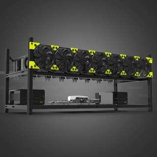 [Clearance] Veddha Black Aluminum 8 GPU Rack for Cryptocurreny Mining Rigs