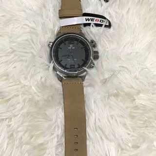 Weide Led Watch with brown leather strap