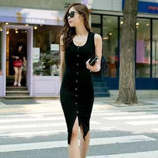 Slim Button Down Black Dress