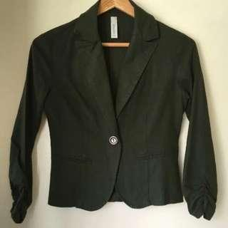 Olive Green Cotton Linen Cropped Waist Blazed Jacket Either Ruched Sleeve SzS