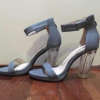 Clear Glass Perspex Heel Dusty Blue by Something Borrowed