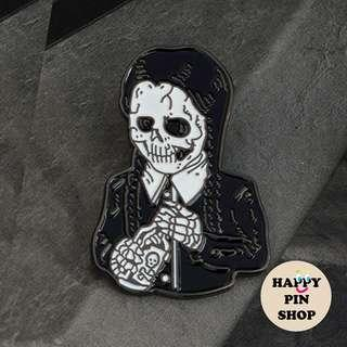 [AVAIL @ PS] Wednesday Addams Skeleton Drinking Poison Enamel Pin (Halloween)
