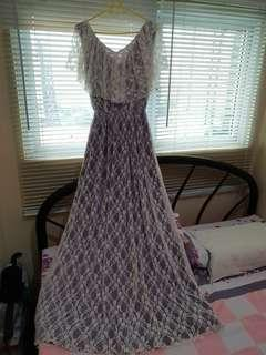 Floor length lilac laced dress