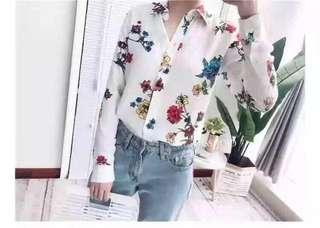 Floral Long Sleeve Chiffon