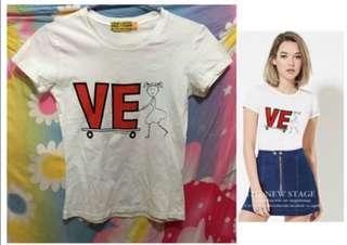 歐美外貿 白色短袖tee VE字圖案衫cotton on H&M monki 款(A)女裝