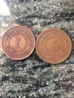 1891 及1894年 海峽殖民地 One Cent