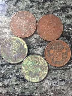 1857-1945年 荷蘭印尼 Indies 2 1/2 cents 5個