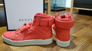 Gucci Red Men Nylon Leather High Top Sneakers