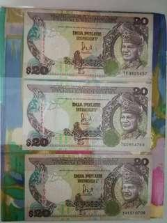 MALAYSIA RM20 6th Series Complete Prefixes x 3