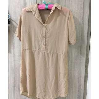 Beige Dress Buttoned