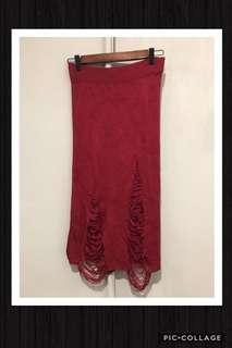 🚚 🦄私物 羅紋 刷破 及踝窄裙 有下水洗過‼️未穿 深紅✨