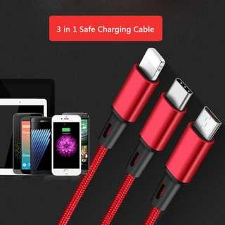 3in1 Nylon Braided USB Charge Cable Micro USB + 8 PinType C