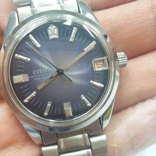 Vintage citizen newmaster blue dial, 中古上錬星辰靚藍面紅日曆, 35mm 不連的,膠面,星辰帶,正常,幾十年錶,但新淨