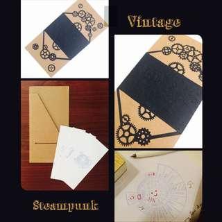 Vintage gears Pocket card + Organizer (temperature + weather) Notes x3pcs