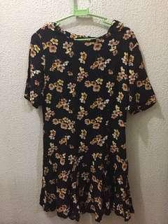 F21 black floral dress