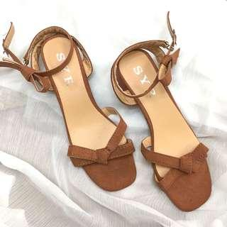 🚚 搬遷出清-37號棕色低跟涼鞋(全新)