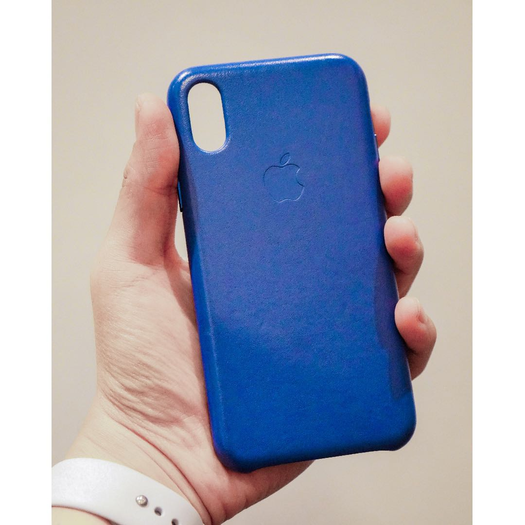 finest selection 17640 26ac5 Apple iPhone X Leather Case (Electric Blue)