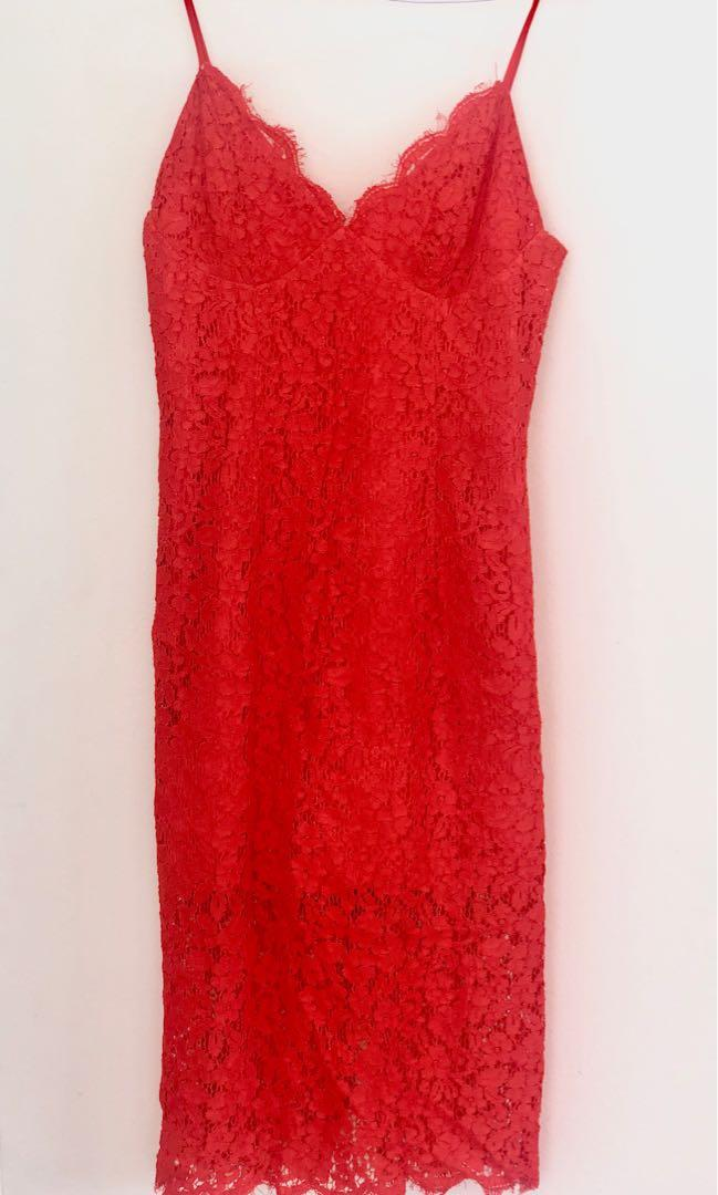 Bardot Orange/ Red Lace Dress
