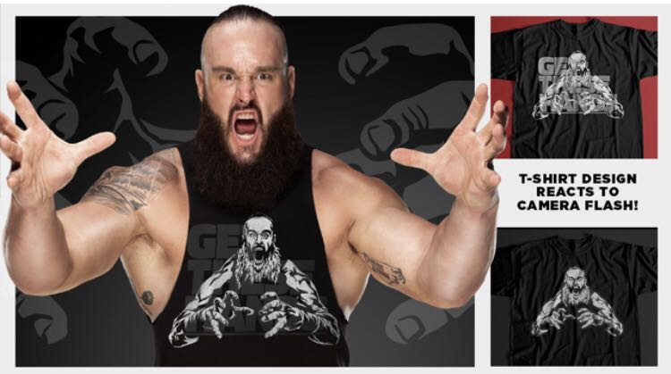"""Official WWE Authentic Braun Strowman /""""Get These Hands/"""" Reflective T-Shirt Black"""