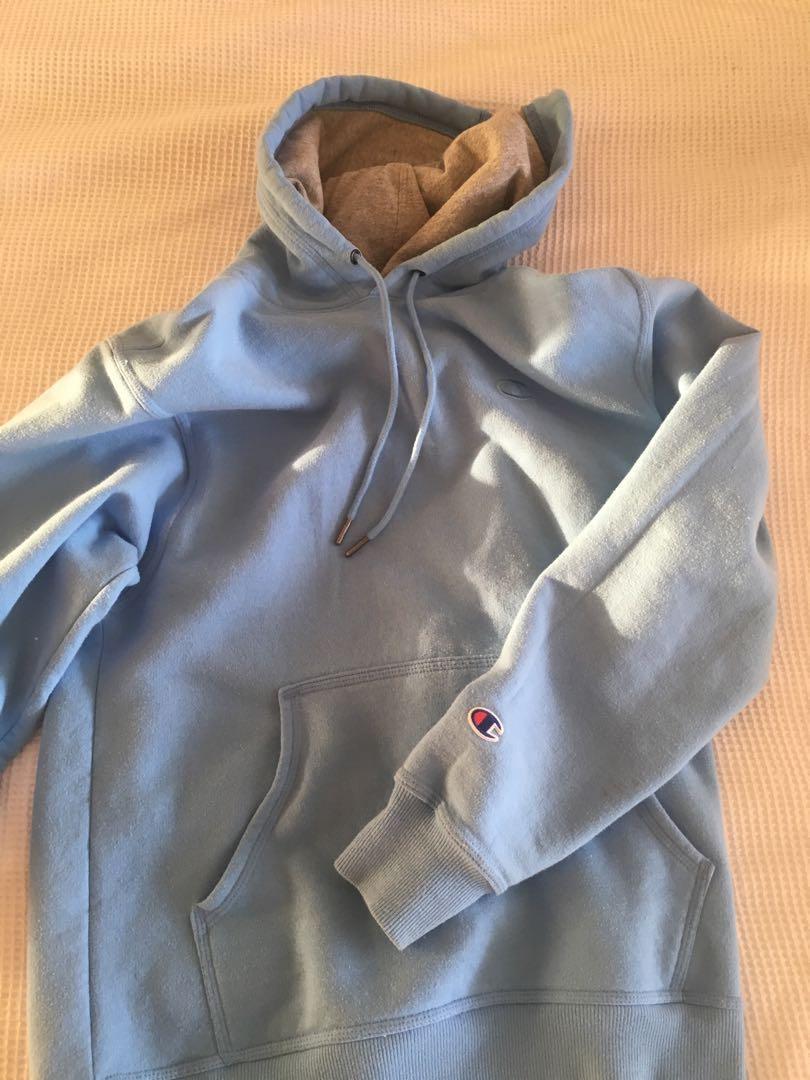 champion baby blue hoodie