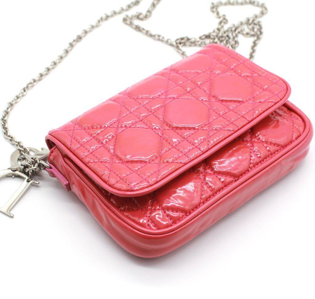 CHRISTIAN DIOR Patent Leather Lady Dior Evening Chain Clutch