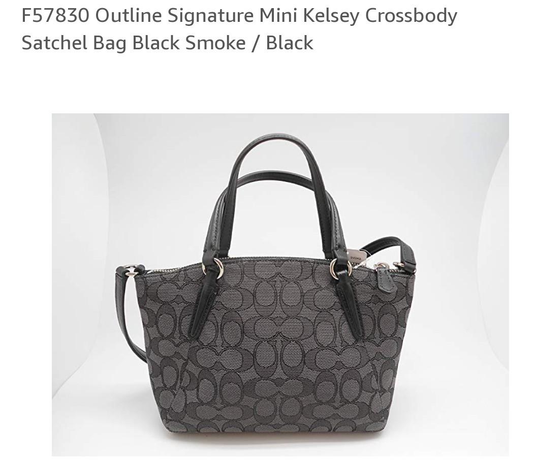 9d2ca7c74848 Coach F57830 Outline Signature Mini Kelsey Satchel Bag Black Smoke ...