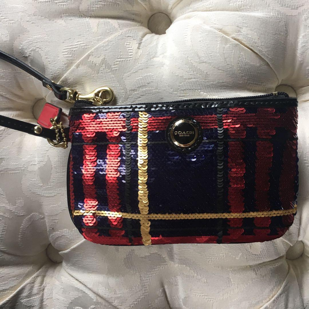Coach sequence red and dark blue wristlet small purse