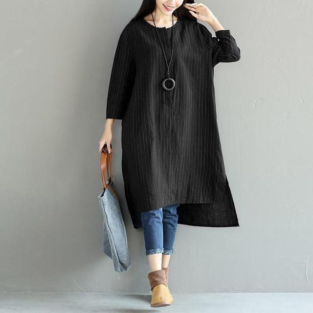 Cotton Linen Long Sleeve Dresses
