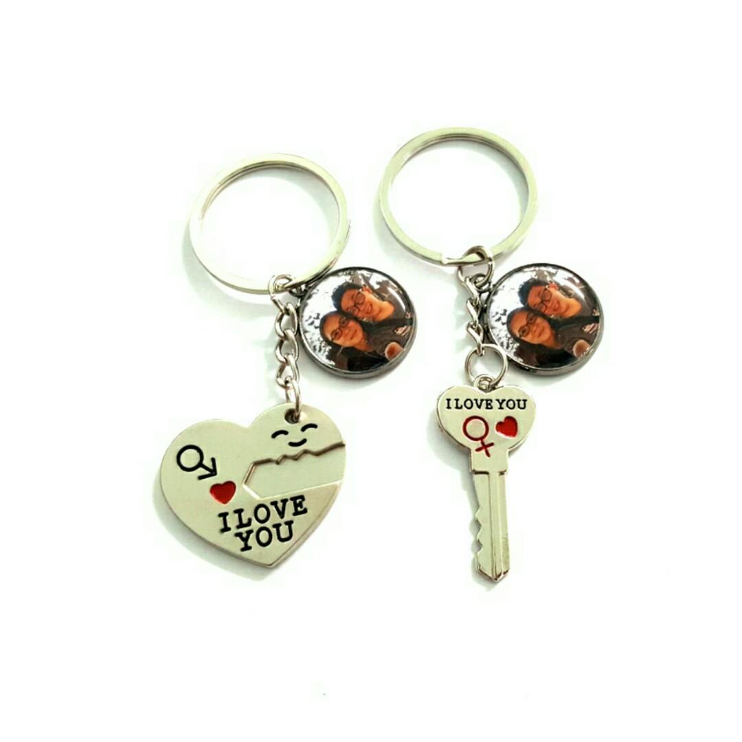 6ec328b802 Customized couple heart and key keychains, Design & Craft, Handmade Craft  on Carousell