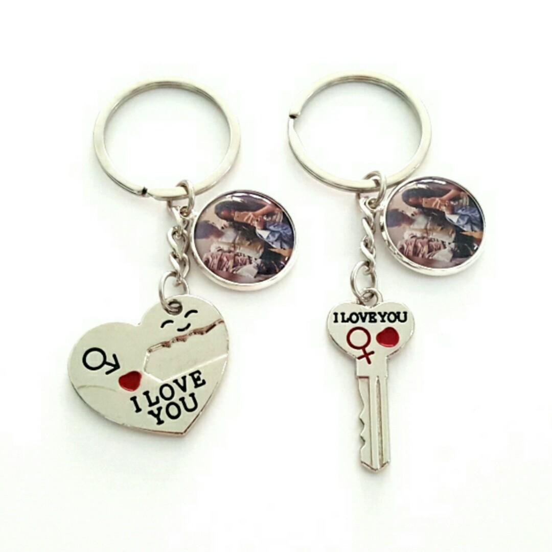 2239a6ab2c Customized couple heart and key keychains, Design & Craft, Handmade ...