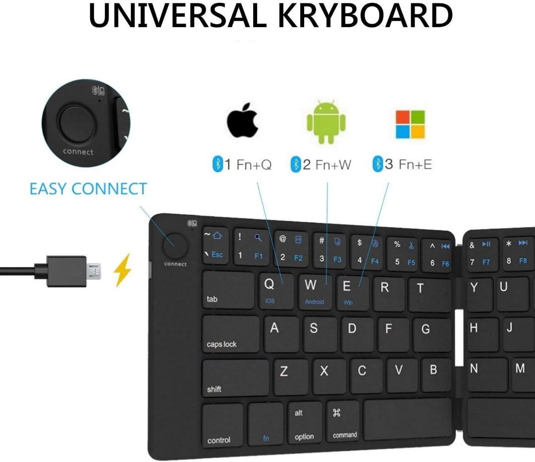 E382) Bluetooth Folding Keyboard Foldable Bluetooth Keyboard