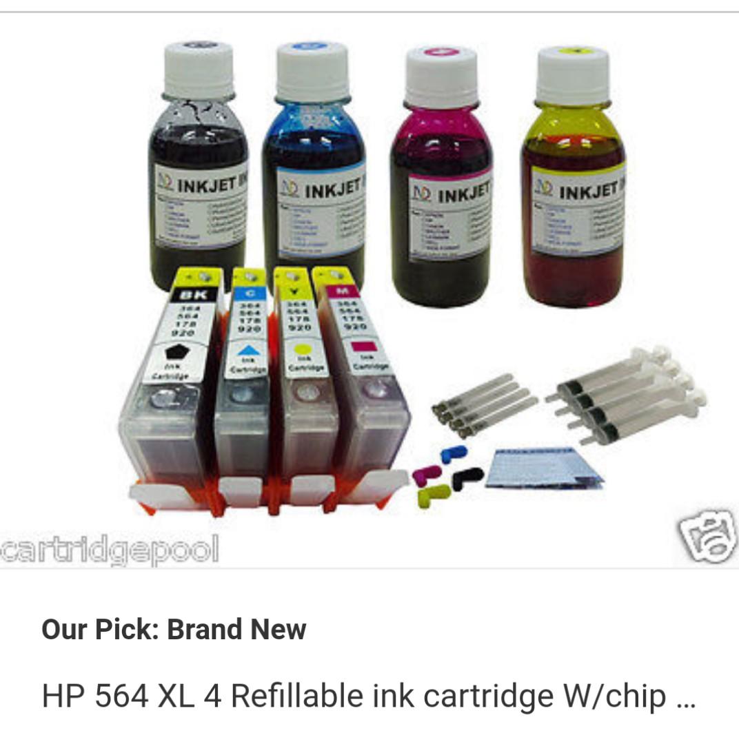 1, HP 564 XL 4 Refillable Ink Cartridge W/chip Deskjet 3521 3522 3526 3070  4x4oz1p
