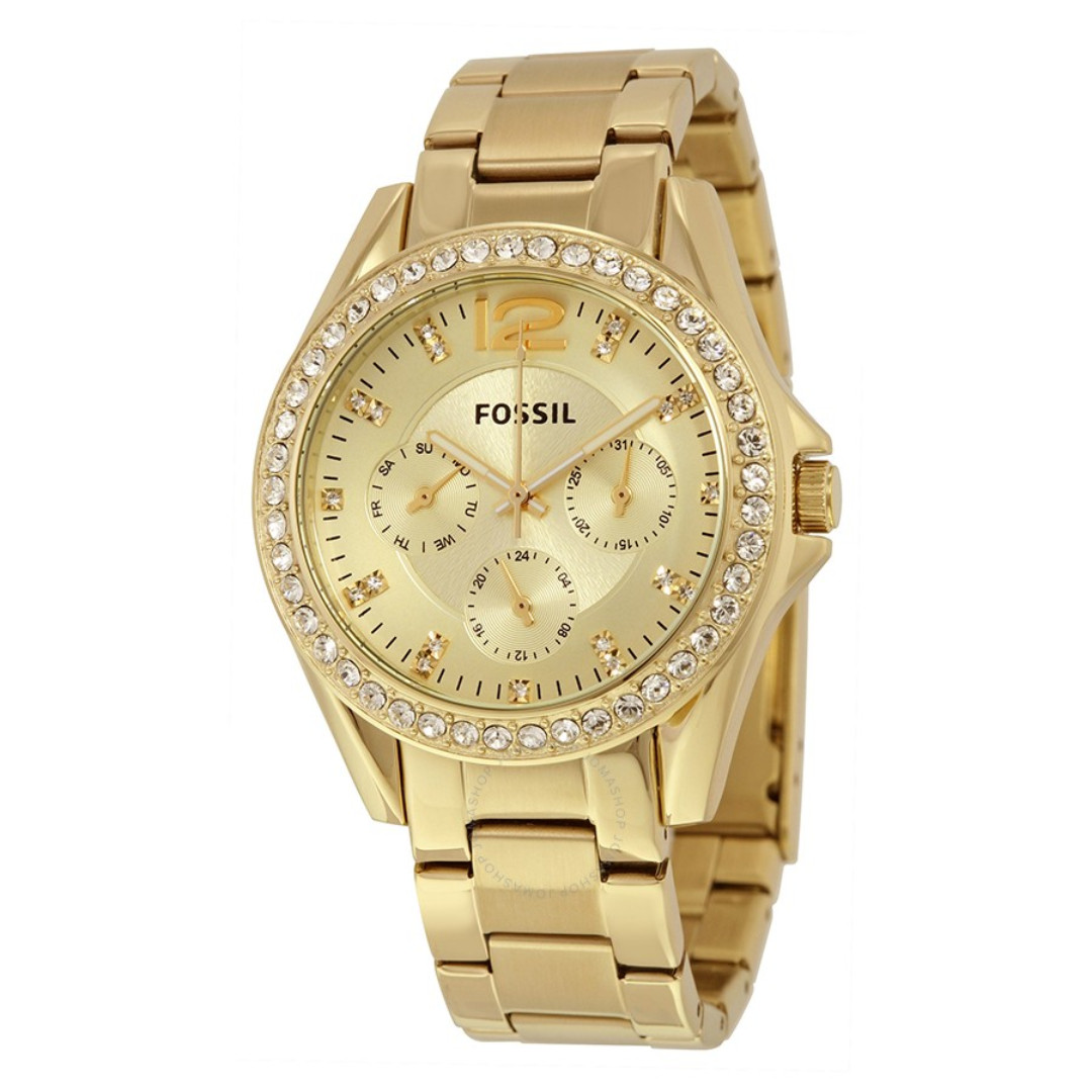 ff331d953c9 Fossil Riley Multifunction Gold-Tone Stainless Steel Watch ES3203 ...