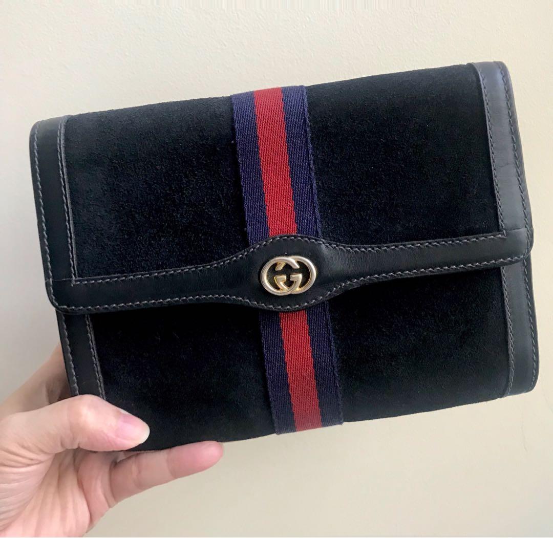 b375eb82a4f5 GUCCI Suede Small Clutch Bag
