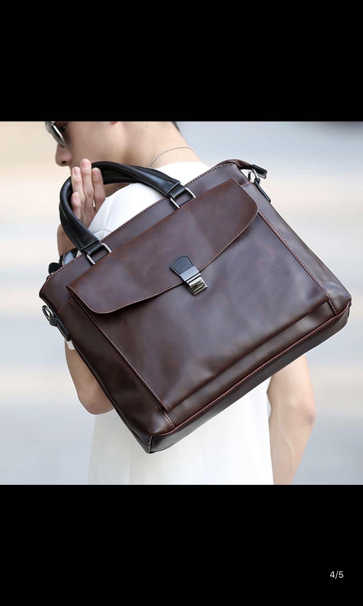 1b59d803ca INSTOCK! Mens Formal Office Bag, Crazy Horse Leather Laptop Bag ...