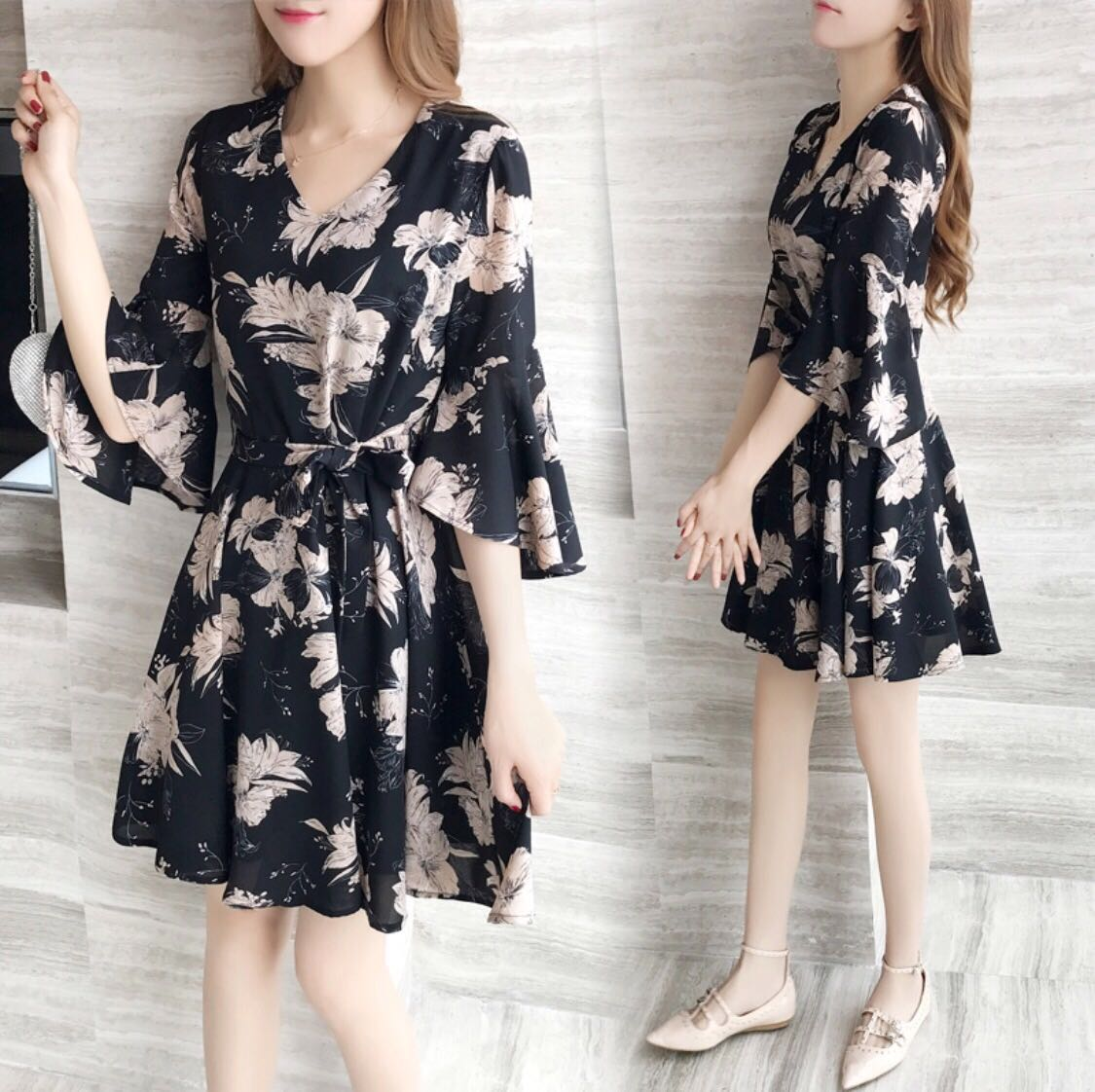 Korean Floral Dress With Butterfly Sleeves Price Reduced Women S