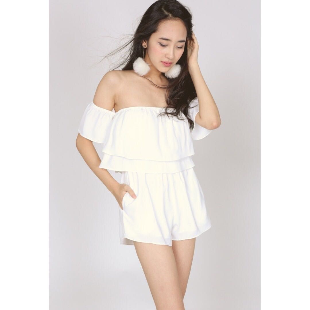 fe537eea35b2 MDS Collections Off Shoulder Flounce Romper in White