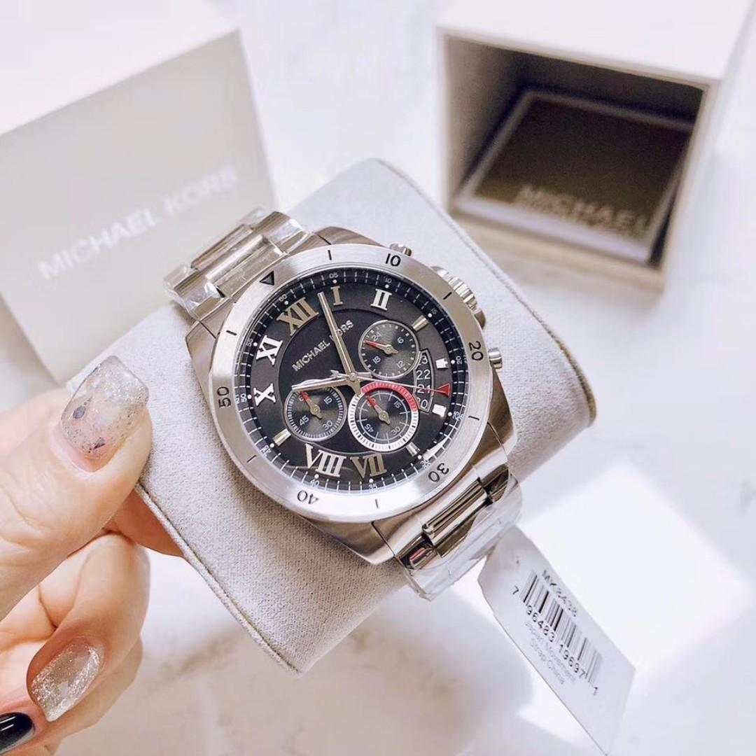 4df03af24010 Michael Kors Brecken Chronograph Black Dial Stainless Steel Men s Watch -  MK8438 on Carousell