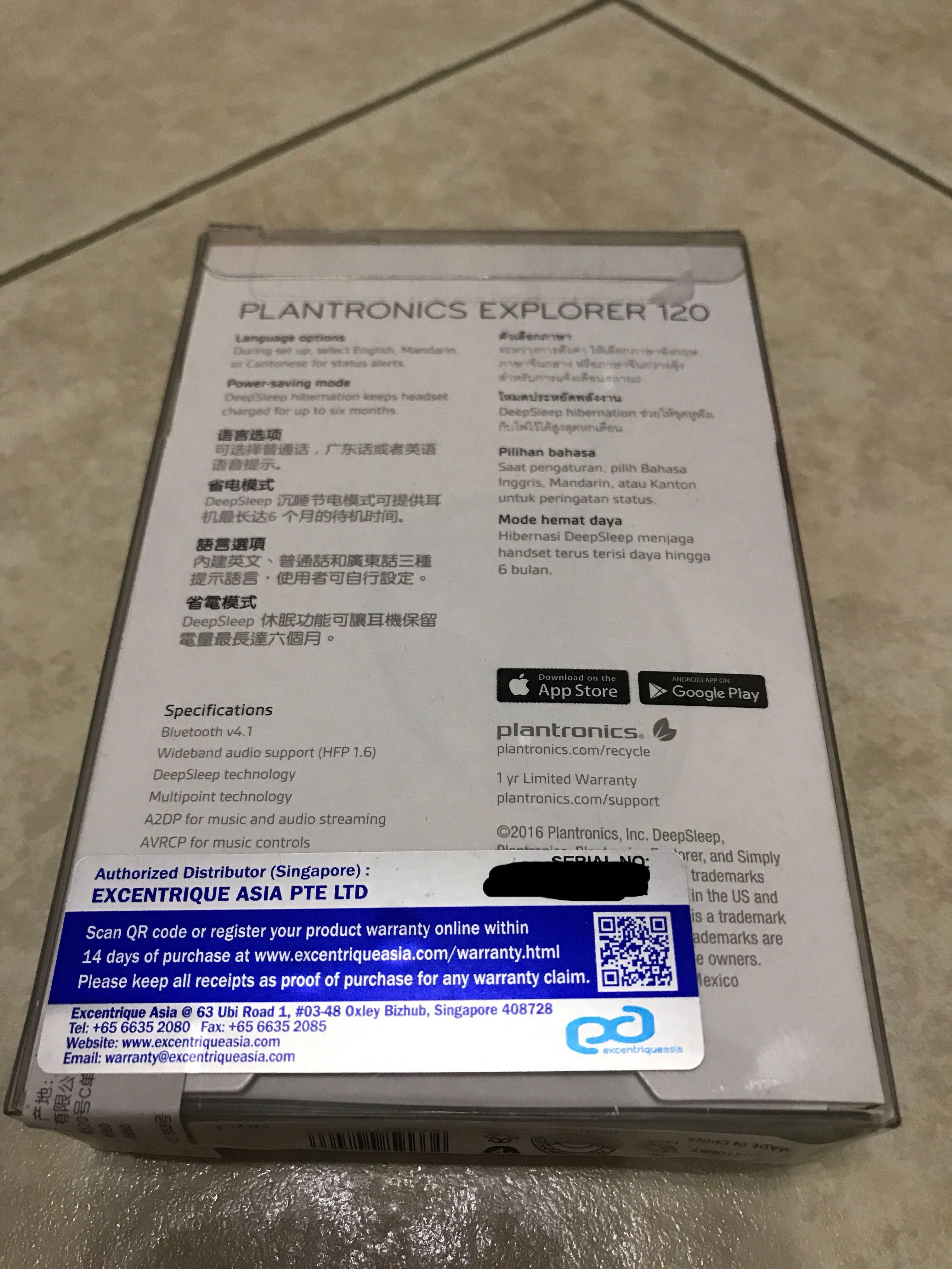 Plantronics Explorer 120 Bluetooth 4 1 Headset BNIB