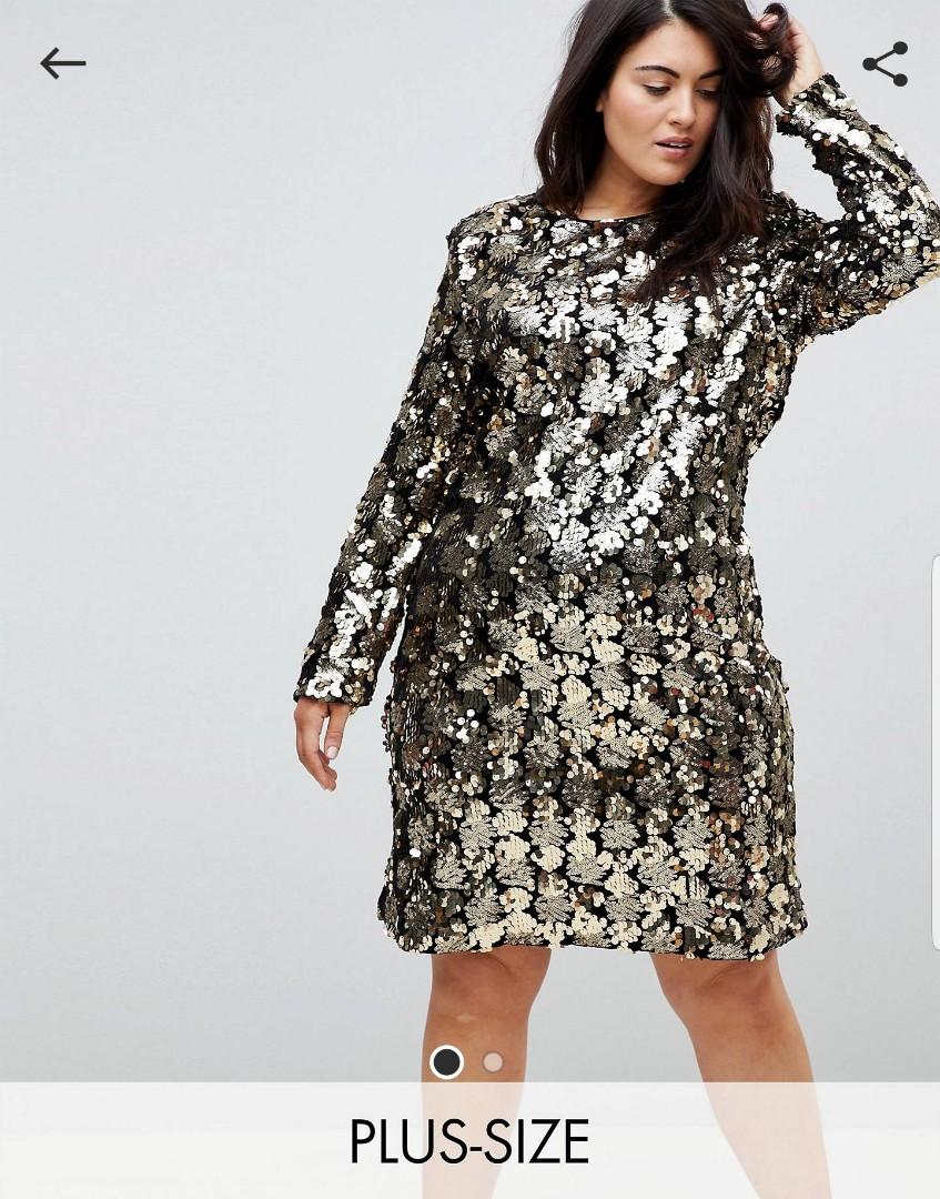 6c394583c86 Plus size knee length long sleeve gold sequin dress, Women's Fashion ...