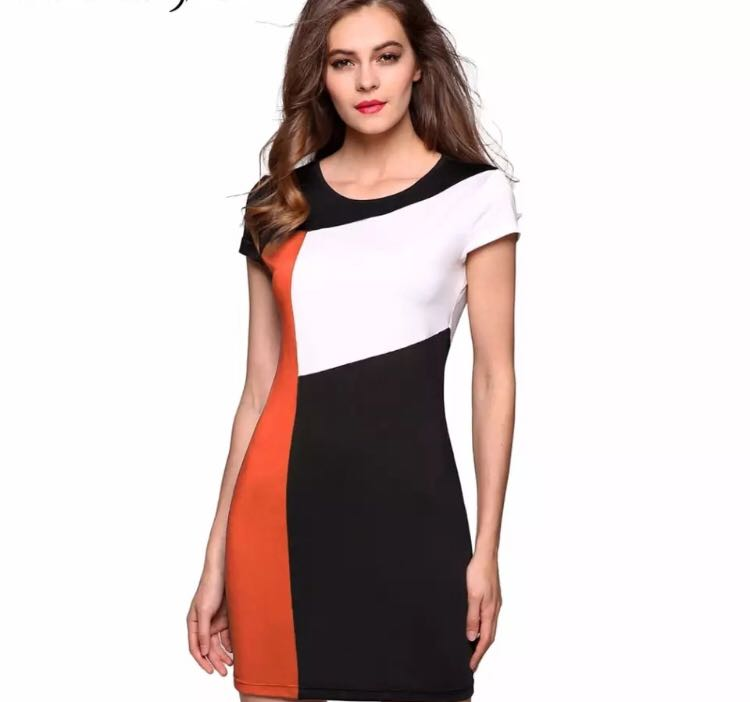91326084433c0 (PO) S-XXXL Ladies Women Splicing Summer Dress Sleeve Patchwork Contrast  Color Stretch Bodycon O-Neck Hip Casual Party