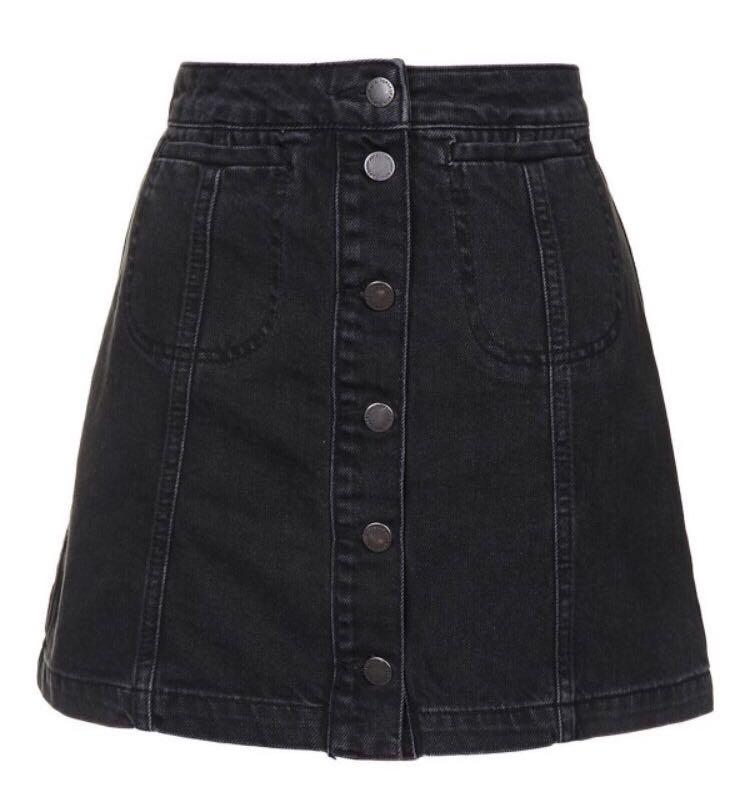 topshop moto black button down denim skirt 3c4bb83a81