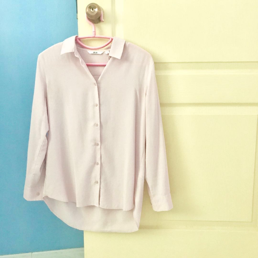 c4f1b702 Uniqlo Rayon Dusty-Pink Long Sleeve Button-Down Collared Blouse, Women's  Fashion, Clothes, Tops on Carousell