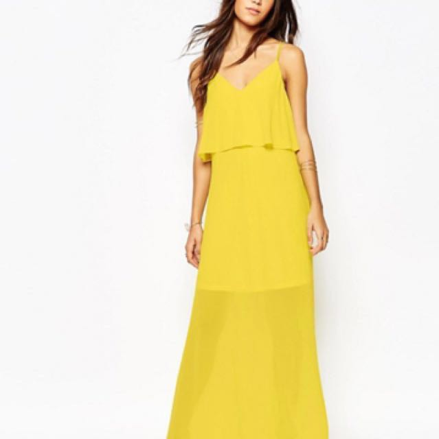 9948038b7a VILA strappy layered maxi dress in yellow, Women's Fashion, Clothes ...