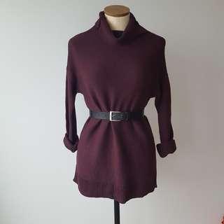 Purple Knit Turtleneck Sweater