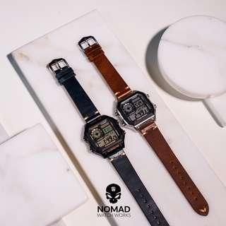 🚚 Premium Vintage Leather Strap in Oil Waxed Navy and Tan