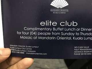 Buffet/Dinner Mandarin Oriental KL 4 person all you can eat