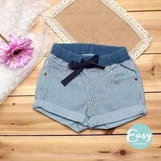 Boys Girls Unisex Skinny Denim Stripe Short Jeans Pants