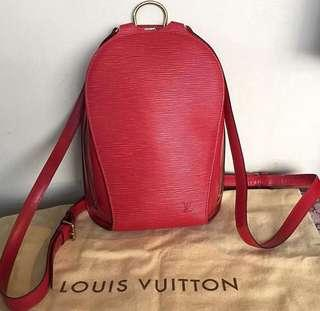 💎Louis Vuitton Rouge Red Epi Mabillon Backpack💎