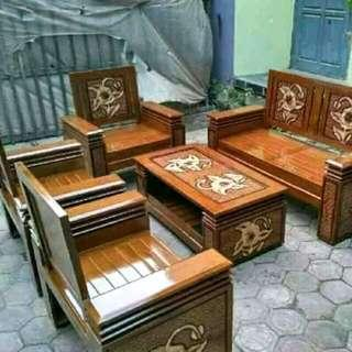 Korsi Kotak 2111+meja Full Kayu Jati